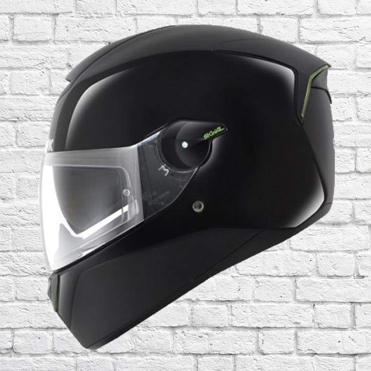 Shark Drak Kurtz Green Crash Helmet Front View