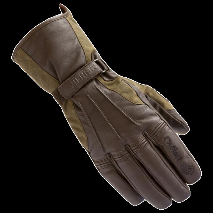 Brown Medium Merlin Darwin Wax Outlast Waterproof Motorcycle Gloves
